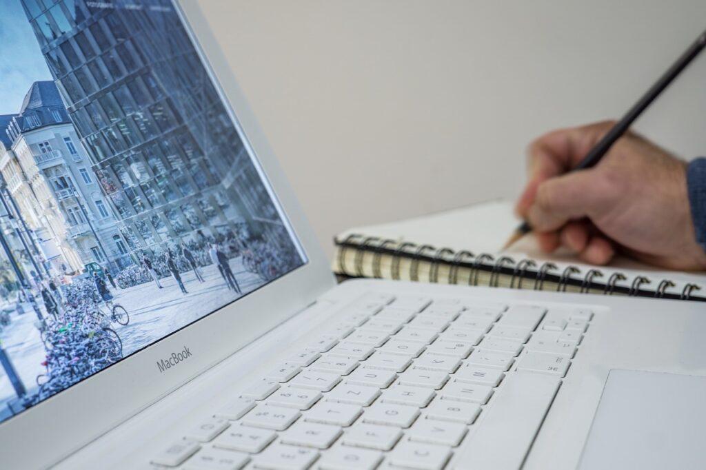 laptop, apple, keyboard